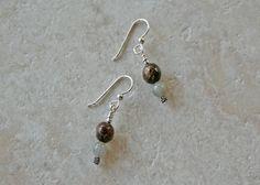 Sterling Bronzite Moss Agate Earrings