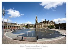 City Park Pool and City Hall, City of Bradford, West Yorkshire, England