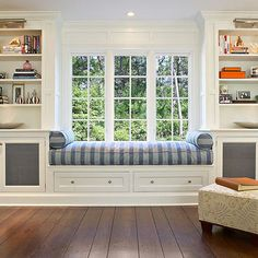 "living Room Built-in Bookcases ""window"" Design"