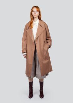 Cotton Twill Trench Coat by Lemaire- La Garçonne Coats 2018, Christophe Lemaire, Outerwear Jackets, Trench, Fashion Online, Duster Coat, Autumn Fashion, Textiles, Silhouette