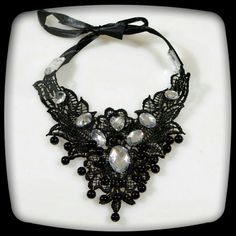 """*GORGEOUS LACE CRYSTAL BIB CHOKER NECKLACE This will compliment any outfit.   Black lace with crystal stone accents.  The soft ribbon tie allows comfort and adjustable to fit up 20"""" neckline. Jewelry Necklaces"""