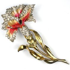 MB Boucher Gold and Metallic Enamel Carnation Pin | eBay