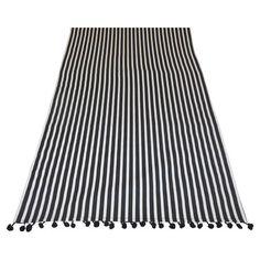 striped pom table runner