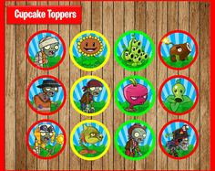 Plants vs Zombies Toppers instant download, Printable Plants vs Zombies party cupcakes Topper, Plants vs Zombies cupcakes toppers