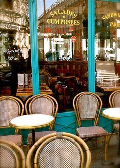 Paris France Photograph - French Cafe Photography - Turquoise Brown Decor - Kitchen Wall Art - Paris Photo - Parisian Bistro - Urban Print