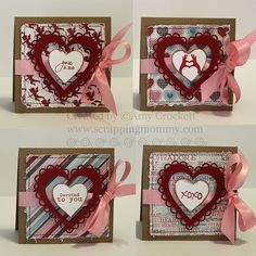 Set of Mini Cards by Scrapping Mommy by mommy2darlings, via Flickr-stitched scallop heart die