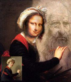 after Vigée Le Brun Role Reversal [Nergal] (Gioconda / Mona Lisa) Le Sourire De Mona Lisa, Monnalisa Kids, Lisa Gherardini, Mona Lisa Portrait, La Madone, Mona Lisa Parody, Mona Lisa Smile, Many Faces, Classical Art