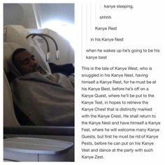 kanye west in his kanye nest.
