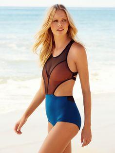 72fe6ed345e Azalea One Piece Swimsuit | Colorblock one-piece swimsuit featuring a black  mesh overlay Open
