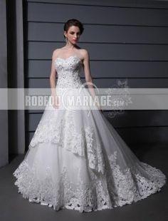 Princesse robe de mariage bustier organza aplliquée col en coeur