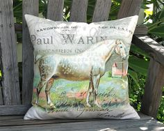 Percheron Pillow - French Horse Pillow Cover - 18x18 20x20 22x22 24x24 Inch Linen Cotton Burlap Pillow Cover