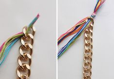A Colorful Double-Wrap Bracelet DIY . Free tutorial with pictures on how to make a chain bracelet in under 30 minutes by braiding and jewelrymaking with fastener, pliers, and scissors. in the Jewelry section Difficulty: Easy. Braided Bracelets, Friendship Bracelets, Boho Jewelry, Jewelry Bracelets, Jewelry Ideas, Diy Braids, Elsa, Chain, Beads
