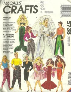 images mccall's sewing patterns for barbie doll clothes - Bing images Sewing Barbie Clothes, Barbie Sewing Patterns, Sewing Dolls, Mccalls Patterns, Doll Clothes Patterns, Doll Patterns, Vintage Patterns, Clothing Patterns, Vintage Sewing