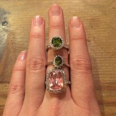 3 costume jewelry rings Round Green - 6 / Pink - 7 / Small Green - 8 will sell separately. Just ask. COSTUME jewelry. Jewelry Rings