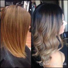 Before & After! Fall hair ready! Drastic Balayage Ombré perfectly blended. Now all I need is my pumpkin spice latte