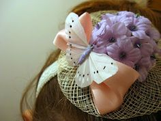 DIY mini Easter bonnet attached to a headband. Make a matched set for mother and daughter.