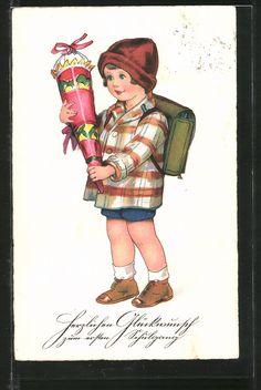 """carte postale ancienne: CPA """"Herzlichen Glückwunsch zum ersten Schulgang"""", Fille betrachtet ihre Zuckertüte"""