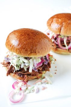 Barbecued Pork Sandwiches With Pickled Red Onion Recipe — Dishmaps