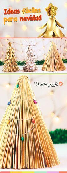 3 Ideas de arboles de Navidad fáciles. Hechos con materiales reciclados #navidad