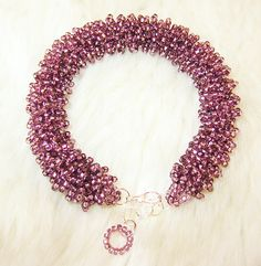 Light purple fluffy bracelet made of seed beads by enlora on Etsy