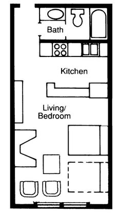 Very small studio apartment or small pool house floor plan
