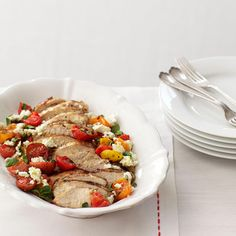 Grilled Chicken with Greek Flavors - This meal, made of lean grilled chicken and fresh summer produce, needs nothing more than a piece of crusty, whole-grain bread on the side.  #myplate #protein