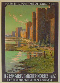 Vintage Travel Poster -  Les remparts d'Aigues Mortes - XIIIe Siècle - Au depart d'Avignon.
