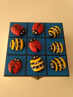 Outside Paint, Tic Tac Toe Game, Rock Crafts, Rock Painting, Rock Art, Painted Rocks, Activities For Kids, Wood, Summer
