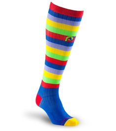 $50 in S/M Get maximum recovery with Marathon Multicolor Stripe full-length, graduated compression sock by PRO Compression.