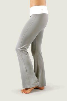 Cozy Orange Leo Foldover Yoga Pants Frost Gray and Optic White