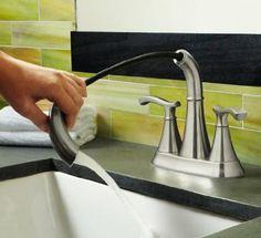 Pfister Ideal 2-Handle 4-inch; Centerset Bathroom Faucet in Brushed Nickel. Amazon. F-548-IDKK