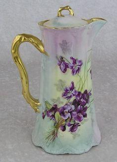 Haviland Limoges France Porcelain Violets Coffee Chocolate Pot