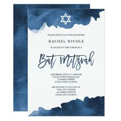 This trendy and elegant Bat Mitzvah invitation features blue, watercolor look splashes and modern typography with a white Star of David. Unique Invitations, Pink Invitations, Watercolor Invitations, Bat Mitzvah Dresses, Pink Damask, Bar Mitzvah Invitations, Blue, Modern Typography, Gender