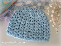 Crochet Baby Hats Lacy Crochet: V-Stitch Newborn Beanie, Free Crochet Pattern Crochet Baby Hats Free Pattern, Bonnet Crochet, Crochet Baby Beanie, Crochet Patterns, Booties Crochet, Newborn Crochet Hats, Crochet Blogs, Doily Patterns, Pattern Ideas