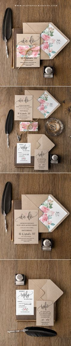 We Do :hearts: Boho Wedding Invitations - Eco Papers, Floral Printing & Calligraphy writing Watercolor Wedding Invitations, Floral Wedding Invitations, Wedding Stationary, Wedding Invitation Cards, Wedding Cards, Invitation Ideas, Wedding Paper, Boho Wedding, Rustic Wedding