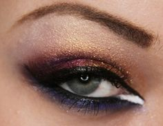 Makeup your Jangsara: Tutorial: Colorful arab eye    Need to tone this down, plus I need to find an affordable dupe of MAC Old Gold pigment.