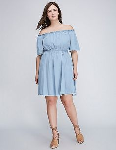 86d71c68641 Chambray Off-the-Shoulder Fit   Flare Dress