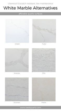Home - West Quartz White Alternatives. Chemical and scratch resistant, low maintenance. Types Of Countertops, White Countertops, Countertop Materials, Concrete Countertops, Affordable Countertops, Quartz Countertops Colors, Outdoor Kitchen Countertops, Bathroom Countertops, Bathroom Marble