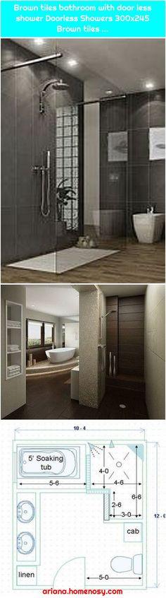 Modern Doorless Shower Ideas Brown tiles bathroom with door less shower Doorless Showers Brown tiles … Brown… , Solid Waste, Got Wood, Wood Planks, Tiles, Kitchen Appliances, Doors, Bathroom Showers, Modern Shower, Aesthetic Bedroom