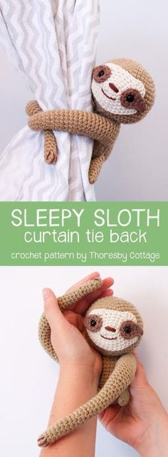 A gorgeous crochet sloth curtain tie back by Thoresby Cottage // nursery decor // crochet toy sloth // baby gift