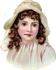 Oblaten Glanzbild scrap die cut  chromo  Kind child head portrait  14cm