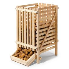 Pine Wood Potato Rack | Manufactum | Gardenista | Store potatoes in a cool dark pantry—preferable at a temperature of 45 degrees. At warmer temperatures, they will sprout sooner.