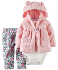Carter's Baby Girls' 3-Piece Hooded Cardigan, Bodysuit & Pants Set
