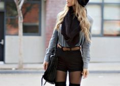 love high-waisted black shorts, black beanies and black scarfs for fall fashion!