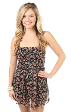 black and pink floral chiffon romper