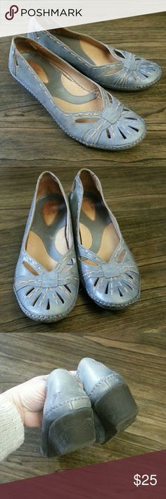 Clarks Artisan Collection Blue Leather Wedges Good shape. Size 8. Super comfortable and soft shoes. Clarks Shoes Sandals