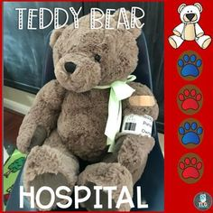 Teddy Bear Hospital  ER--Dramatic Play The Teddy Bear Hospital and Er are now open! Your preschoolers and kindergarteners will love bringing in their sick and injured teddy bears to visit the doctors and nurses in the dramatic play center. This hospital themed creative play center is a perfect addition to your health or community helpers units. Use these printables and a few other items for hours of play and learning in your dramatic play area. Bear Theme Preschool, Preschool Themes, Literacy Activities, Dramatic Play Area, Dramatic Play Centers, Print Awareness, Play Centre, Community Helpers, Early Literacy