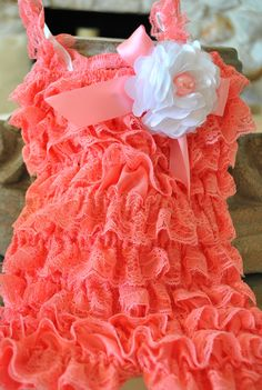 Lace Baby Romper Adorned with White and Pearl Flower