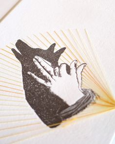 #Letterpress print featuring a vintage illustration of a hand shadow puppet letterpress printed in black, then hand stitched in an ombre yellow thread. Textile art, hand sti... #wallart #letterpress #bohorooms #luxe #handmade #printing #perth #etsyseller #makeforgood #dingo ➡️ http://jto.li/ekWmq