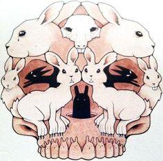 Bunny skull by Jeremy Fish (www.sillypinkbunnies.com)